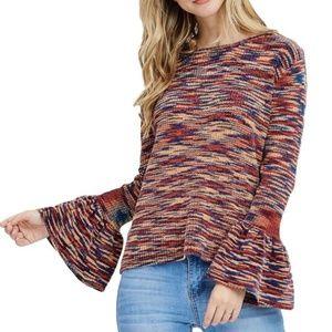 bell sleeve print sweater waist length multicolor